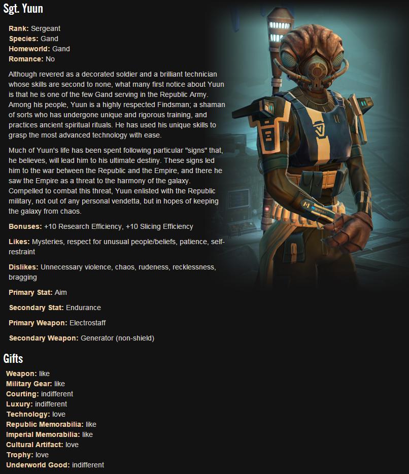 Swtor Trooper Companion Sgt Yuun Swtor Pinterest Star Wars