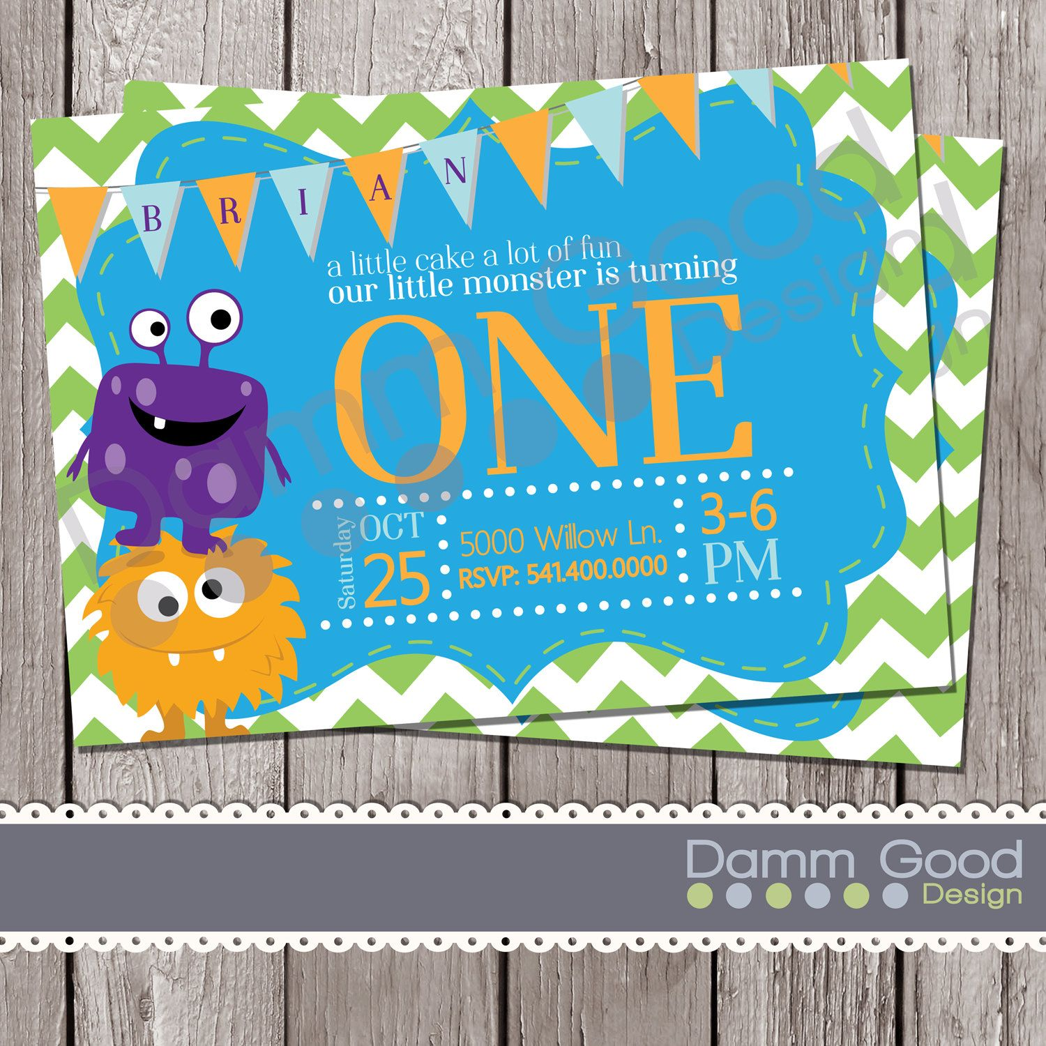Printable birthday invite | monster themed birthday | one year old ...