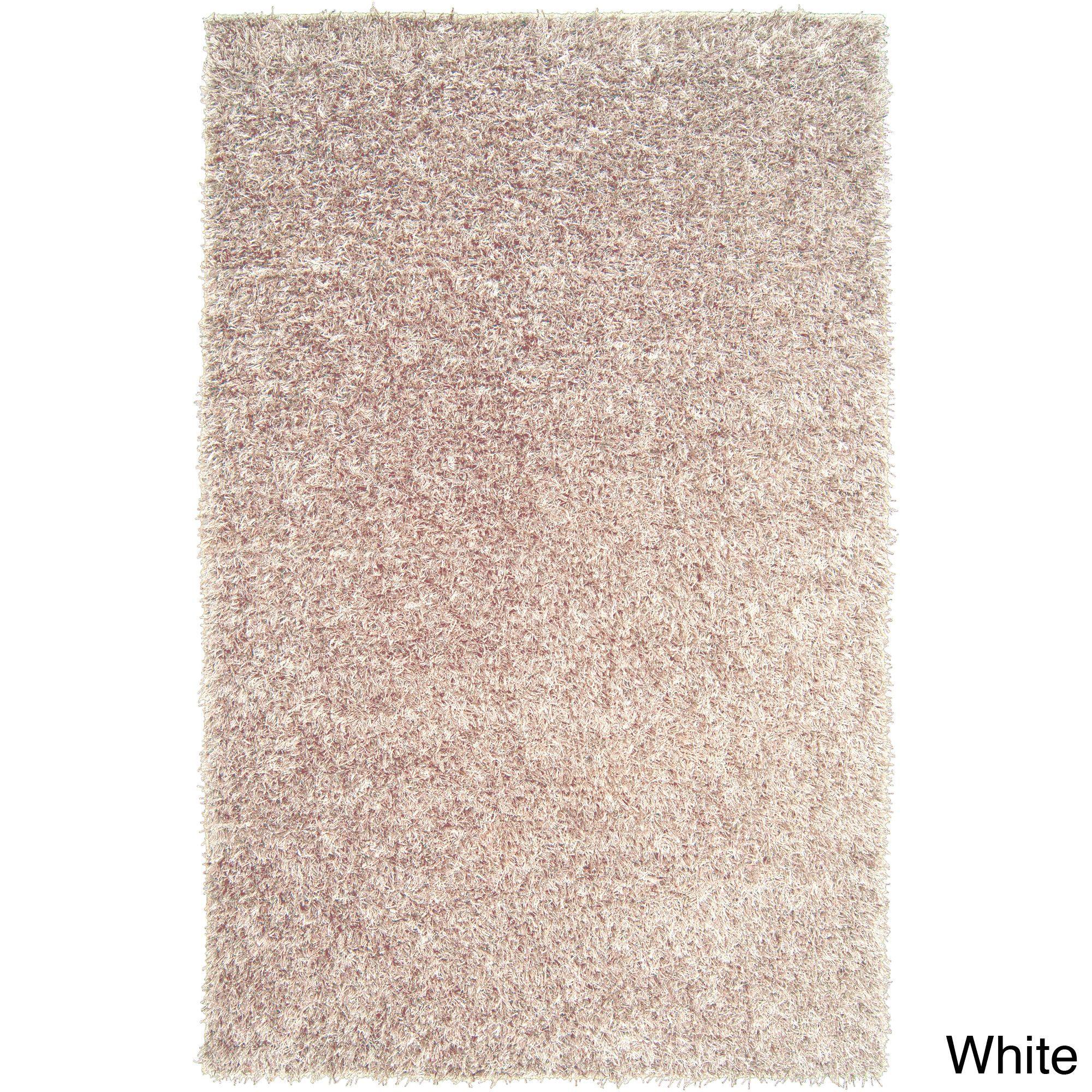 Hand-woven Benton Soft Plush Shag Rug (White-(2' x 3')), White, Size 2' x 3' (Polyester, Solid)