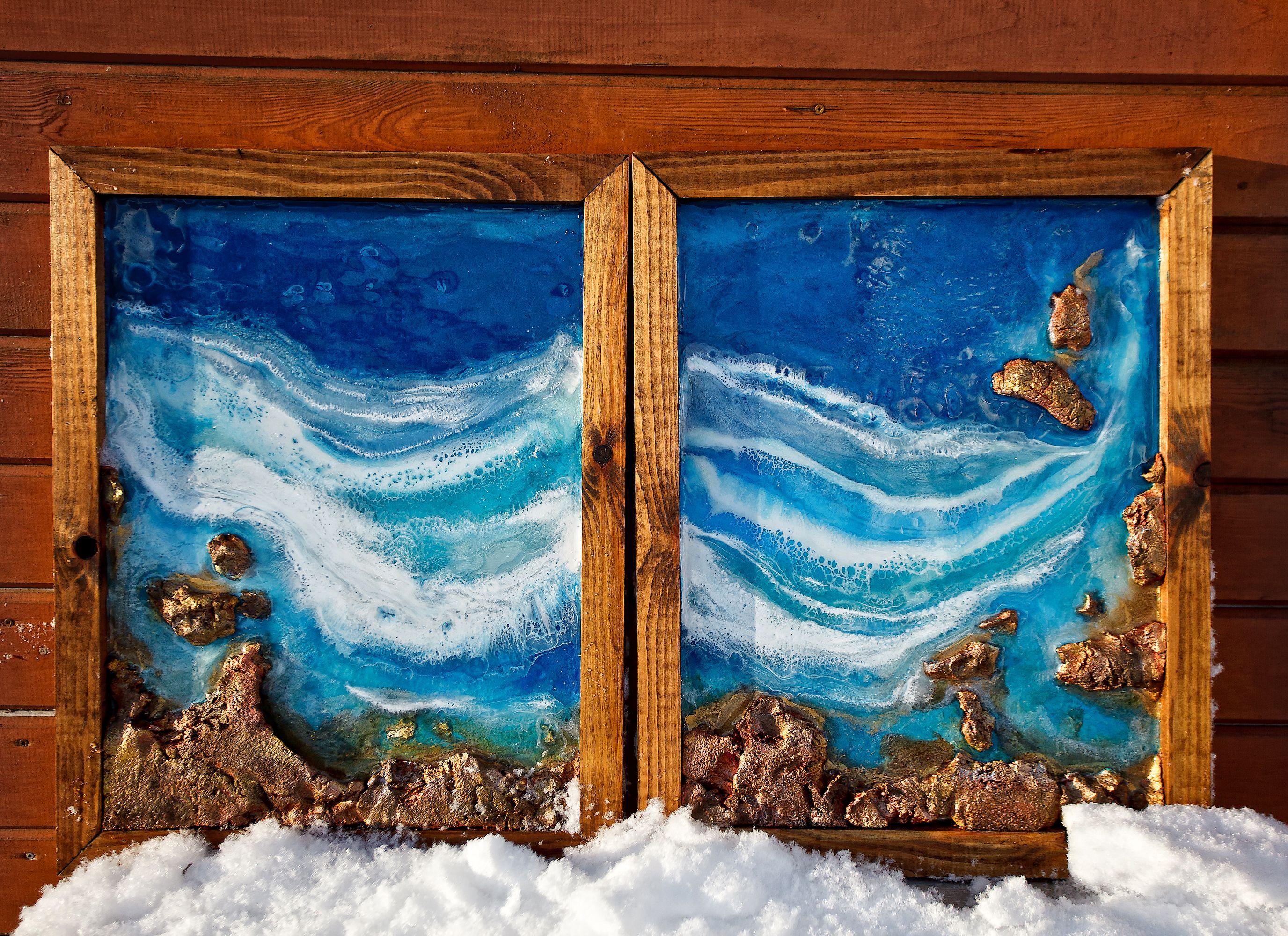 Ocean Resin Art Framed Beach Art Seascape Painting Aerial Beach