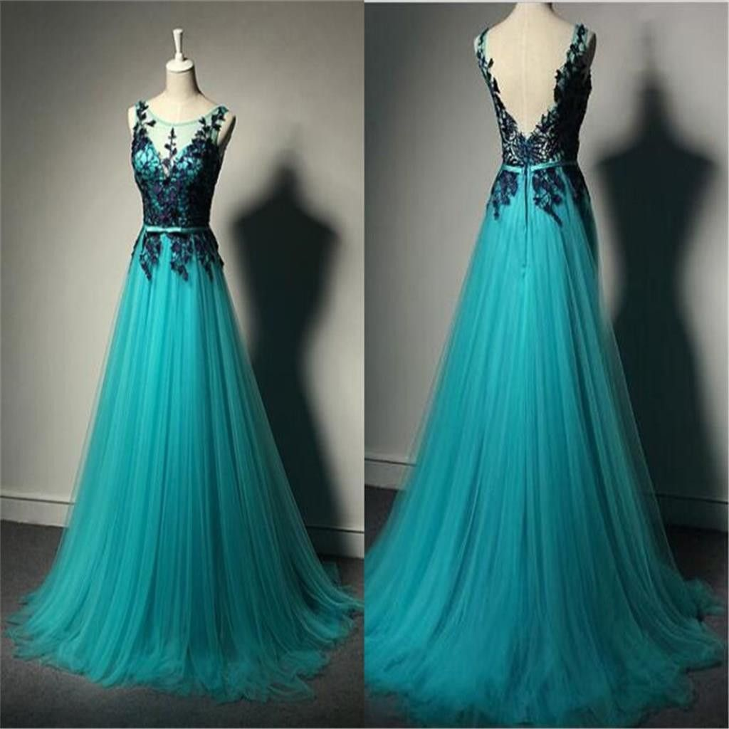 Long aline tulle lace prom dresses unique formal evening dresses