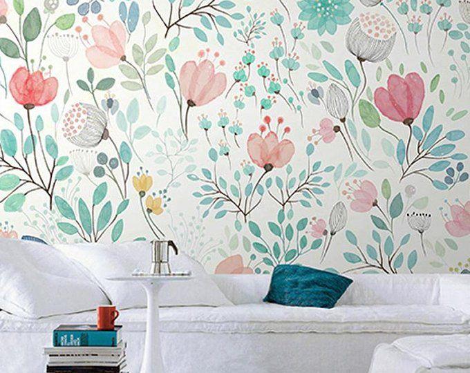 Spring Hanging Olive Green Leaves Wallpaper Wall Mural,Green Vine Branch Watercolor Wallpaper Wall Murals, Bedroom Living Room Wallpaper