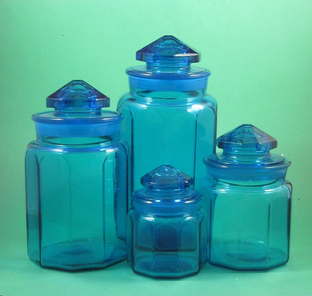 Set of 4 vintage colonial cobalt blue glass apothecary l e smith canister jars apothecaries - Blue glass kitchen canisters ...