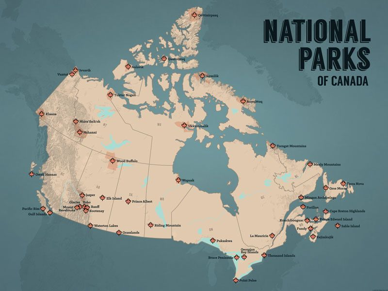 Map of Canadau0027s National Parks America