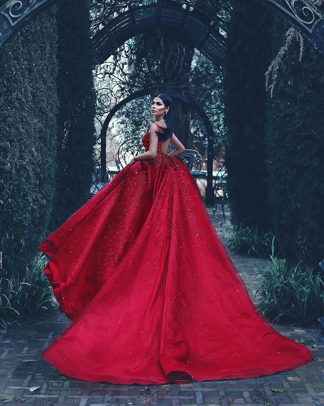 Luxury Abendkleider Lang Rot Spaghetti Träger A Linie Ballkleider