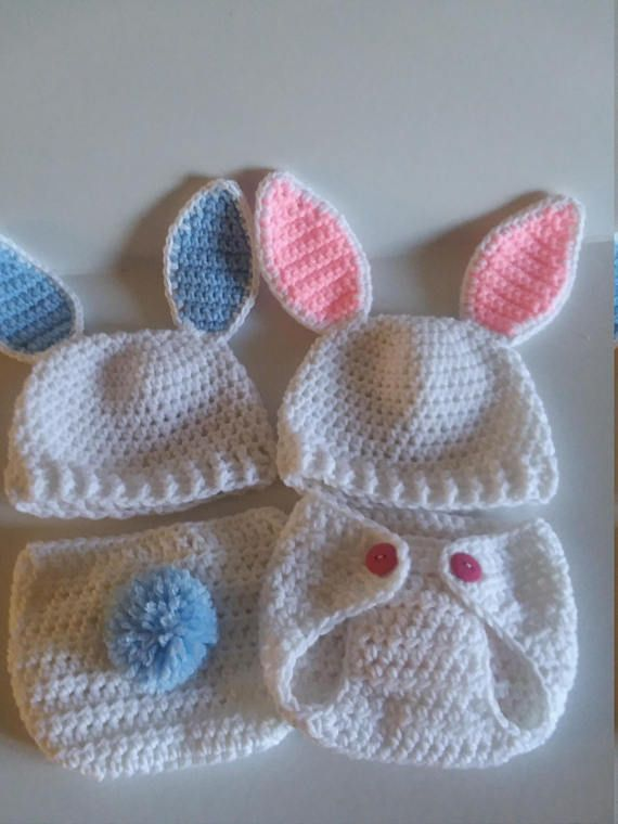 a696a0d45 Crocheted Bunny Diaper Cover Set, Crocheted Bunny Hat, Easter Bunny ...