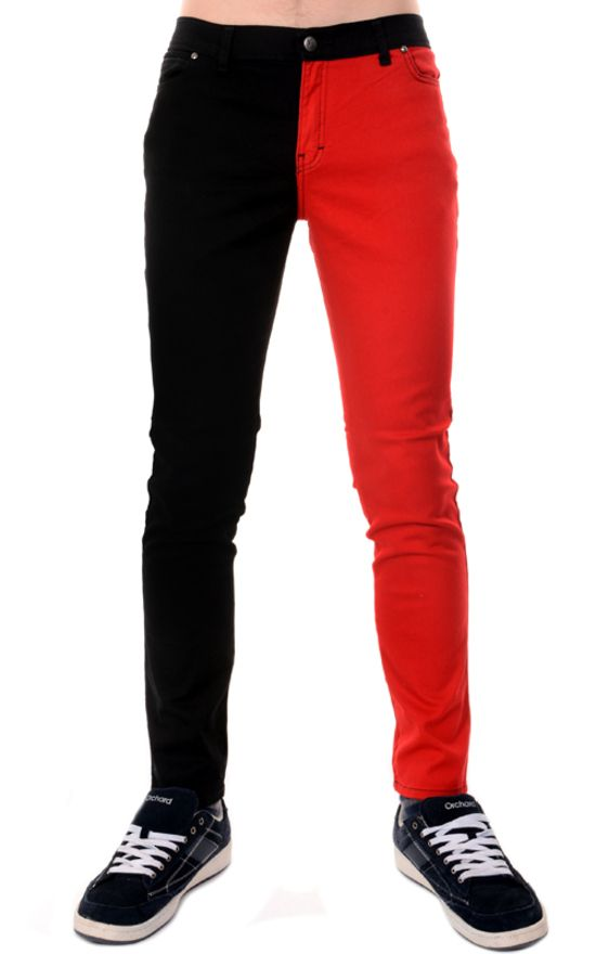 Mens Red & Black Split Leg Skinny Jeans | Christmas Gifts 2015 ...