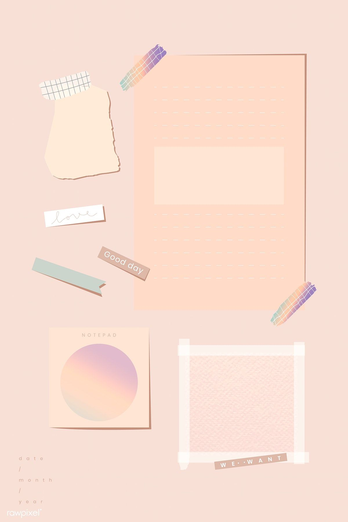 Download Premium Vector Of Blank Pastel Orange Picture Collage Template Collage Template Frame Template Picture Collage