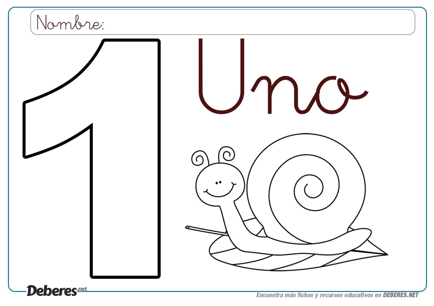 Ficha Del Numero 1 Para Colorear E Imprimir Ficha Del