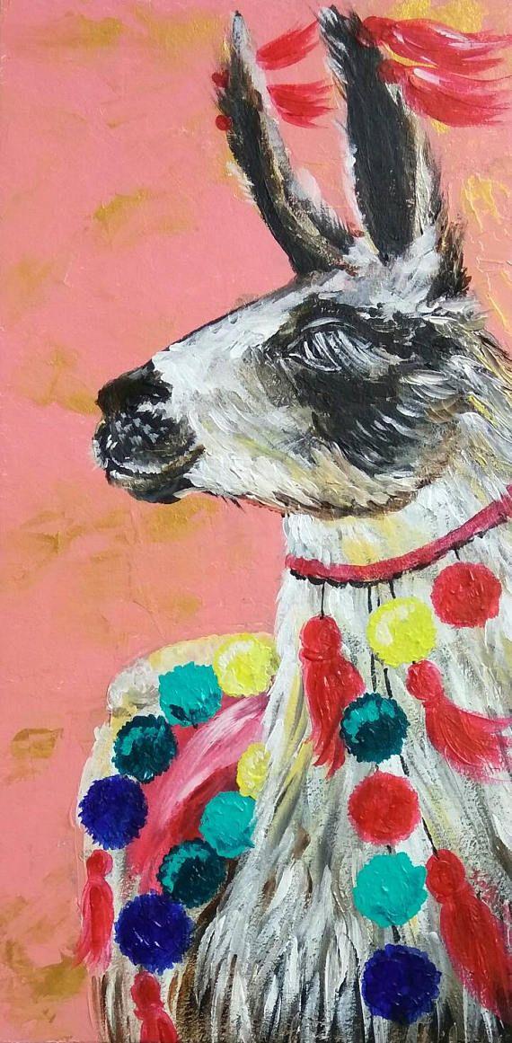 Llama original acrylic painting Nursery decor wall art for