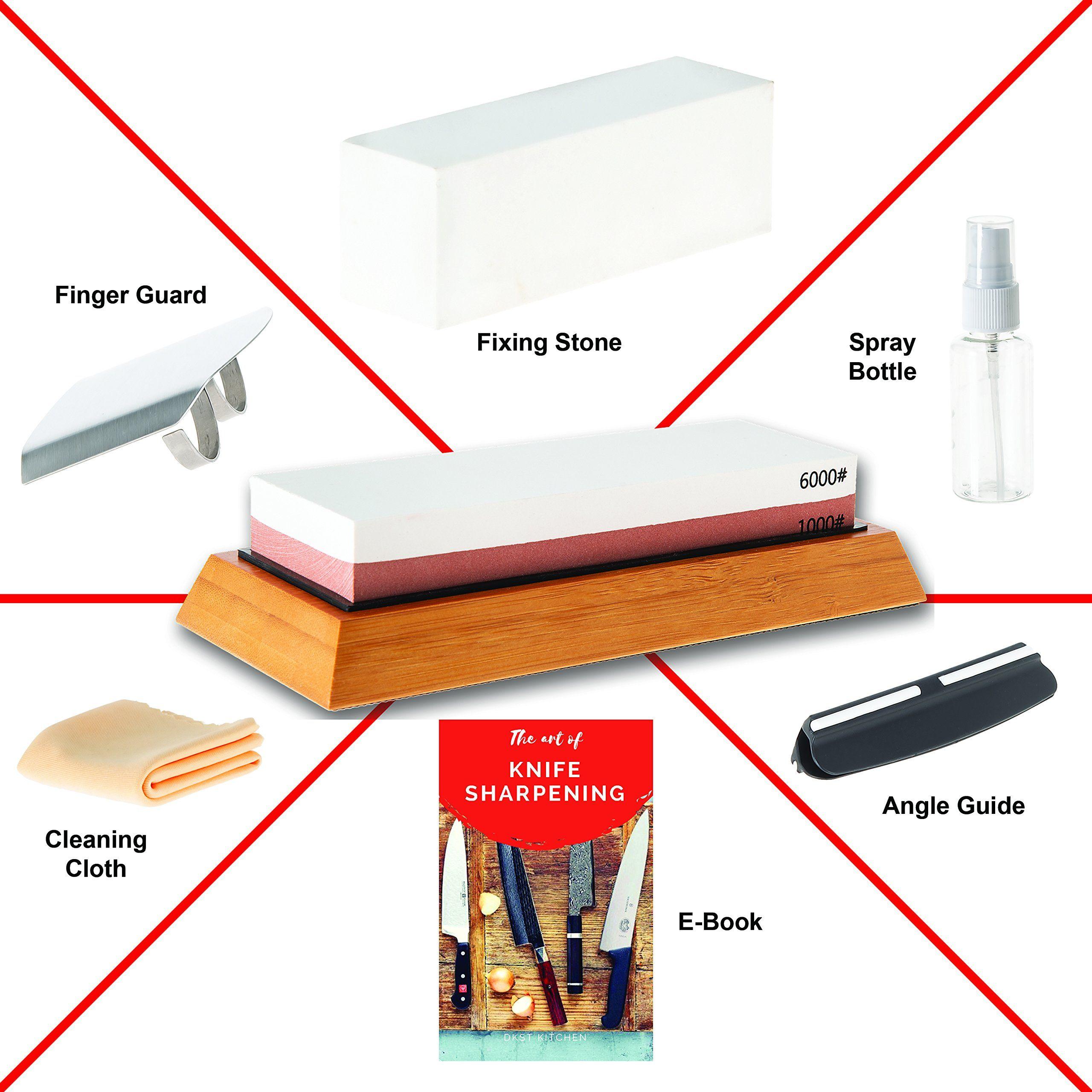 Dkstkitchen Knife Sharpening Stone Set Japanese Wet Stones Includes Angle Guide Fixer Antislip Bamboo In 2020 Knife Sharpening Stone Knife Sharpening Sharpening Stone