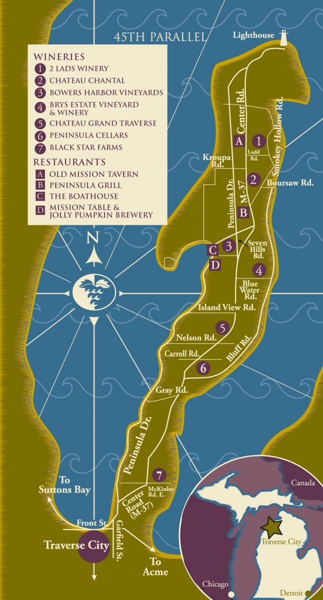 Old Mission Peninsula Wine Trail Near Traverse City Michigan - Michigan wineries map