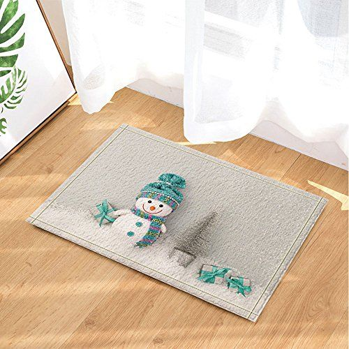 Nymb Retro New Year Bath Curtain Hy Snowman With Christmas Holiday Gift Bo In Snowflakes Rugs Non Slip Doormat Floor Entryways Indoor