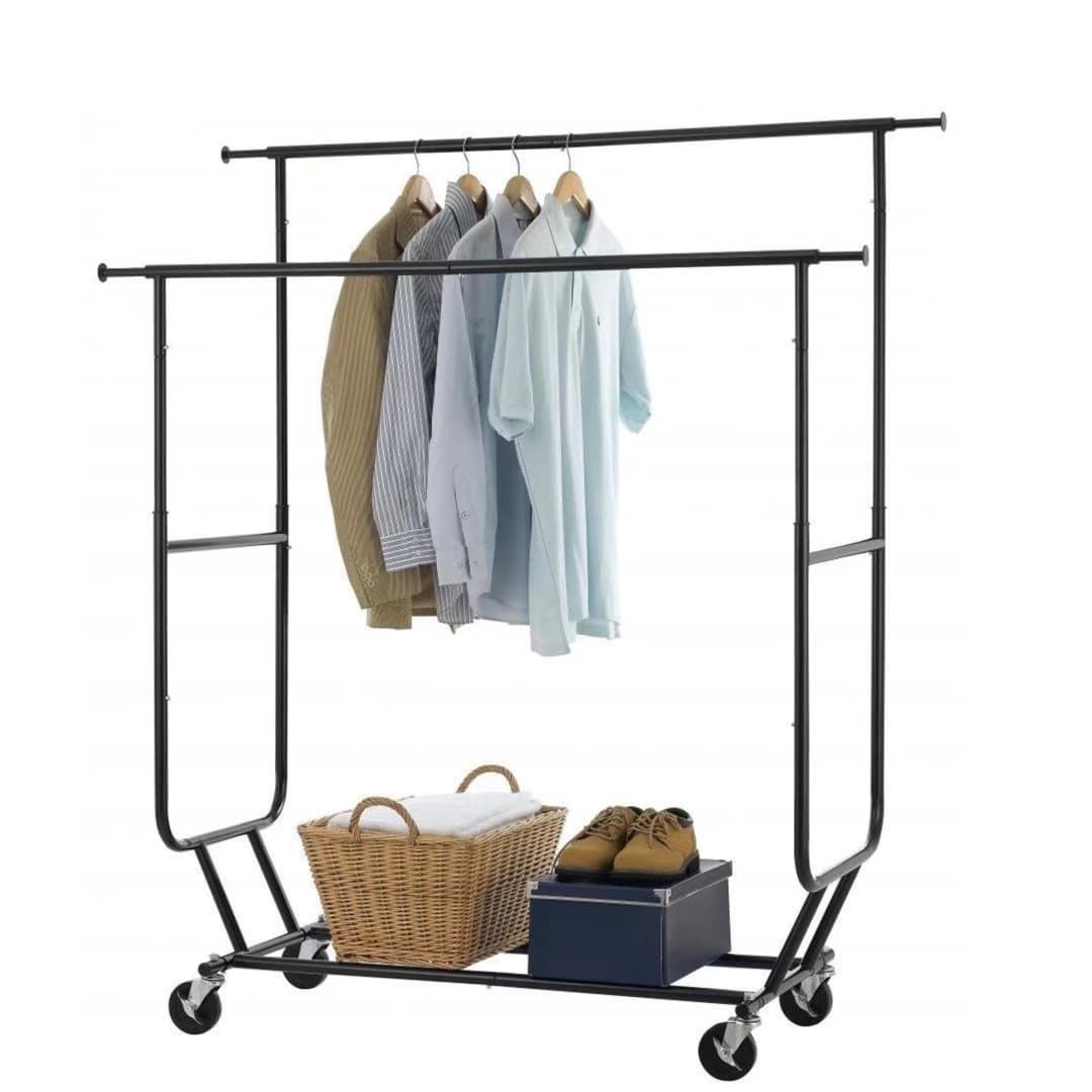 Walmart Clothes Hanger Rack Beauteous Heavy Duty Collapsible Clothing Rolling Double Garment Rack Hanger Decorating Design