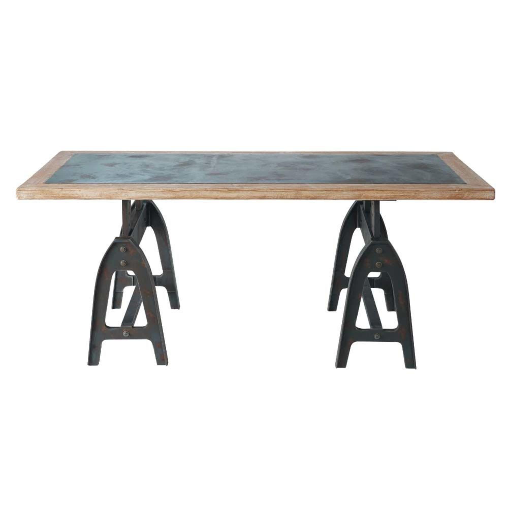 Tavolo per sala da pranzo in legno aspetto metallo effetto ...