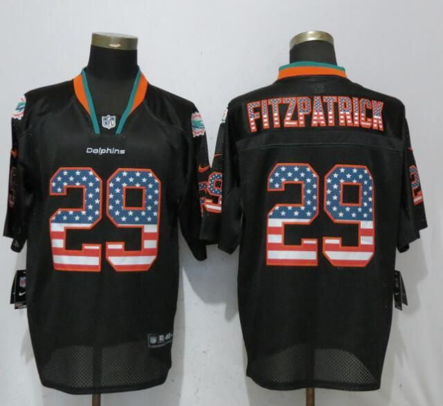 Hot Men Miami Dolphins 29 Fitzpatrick USA Flag Fashion Black Elite Nike  for cheap