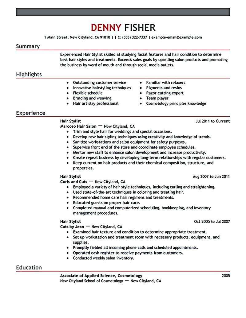 Housekeeping Resume Template Hair Stylist Resume Is A Must Thing To Have And To Offer When You