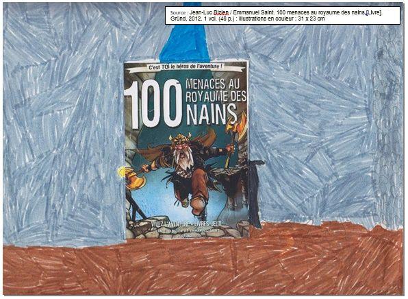 """Couverture réalisée par Nadhir à partir du livre """"100 menaces au royaume de nains"""" de Jean-Luc Bizien. Pour voir mon livre, il faut cliquer sur mon dessin."""