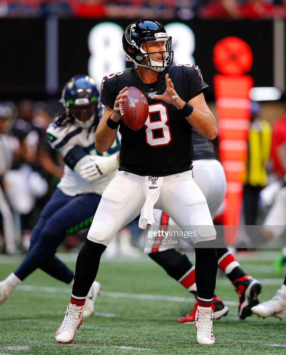 Matt Schaub Of The Atlanta Falcons Looks To Pass Against The Seattle Atlanta Falcons Falcons Atlanta