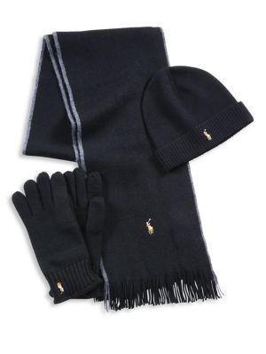 POLO RALPH LAUREN Three-Piece Merino Wool Scarf, Beanie & Gloves Set. #