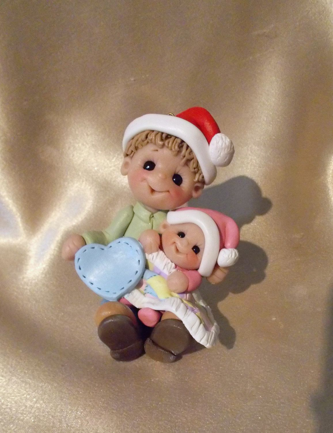 Personalized baby christmas ornaments - Big Brother Baby Sister Sibling First Christmas Personalized Children Ornament Polymer Clay