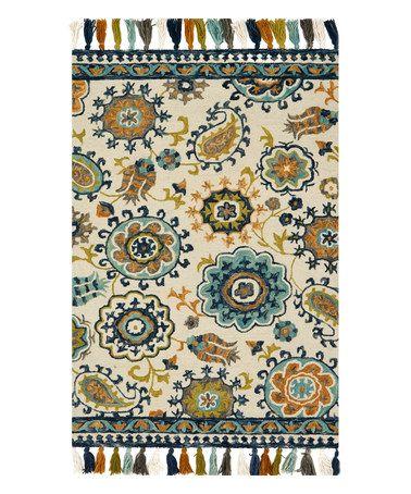 Ivory & Blue Floral Farrah Wool Rug #zulily #zulilyfinds