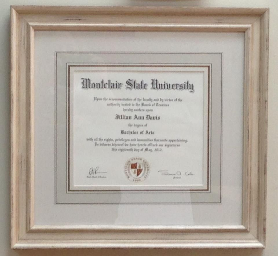 Unique style of framing Diploma - Hand painted French mat with ...