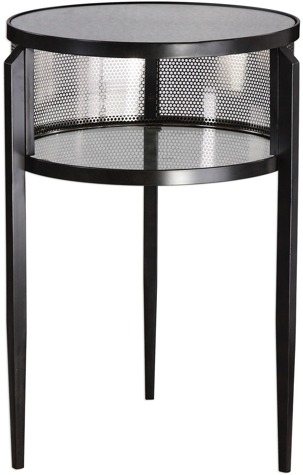 This Drum Style Accent Table Is Finished In Aged Black Iron With Slim Tapered Legs