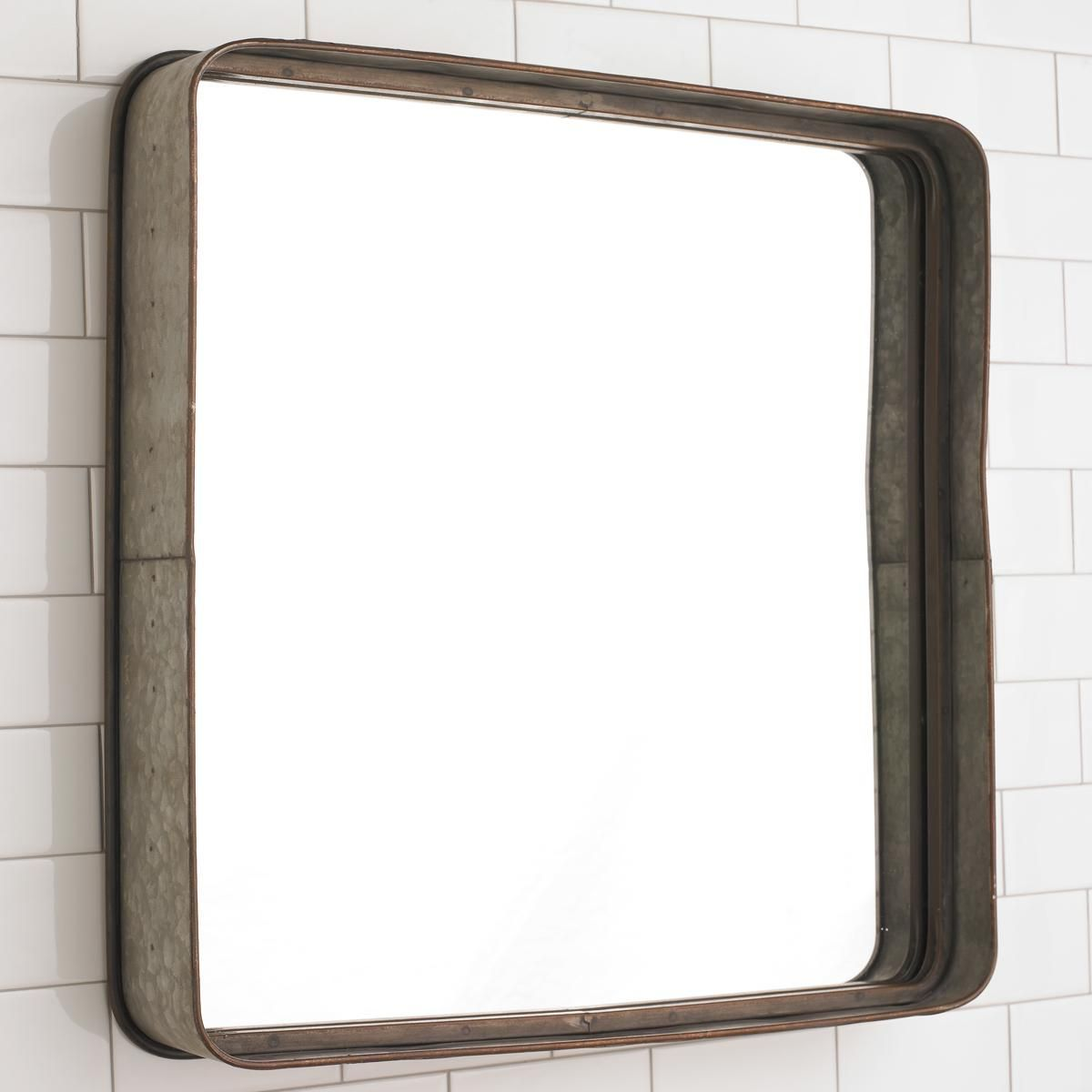 Metal Galvanized Squared Mirror This Simple Framed Will Add A Touch Of Style To Bathroom Combine With Bronze Bath