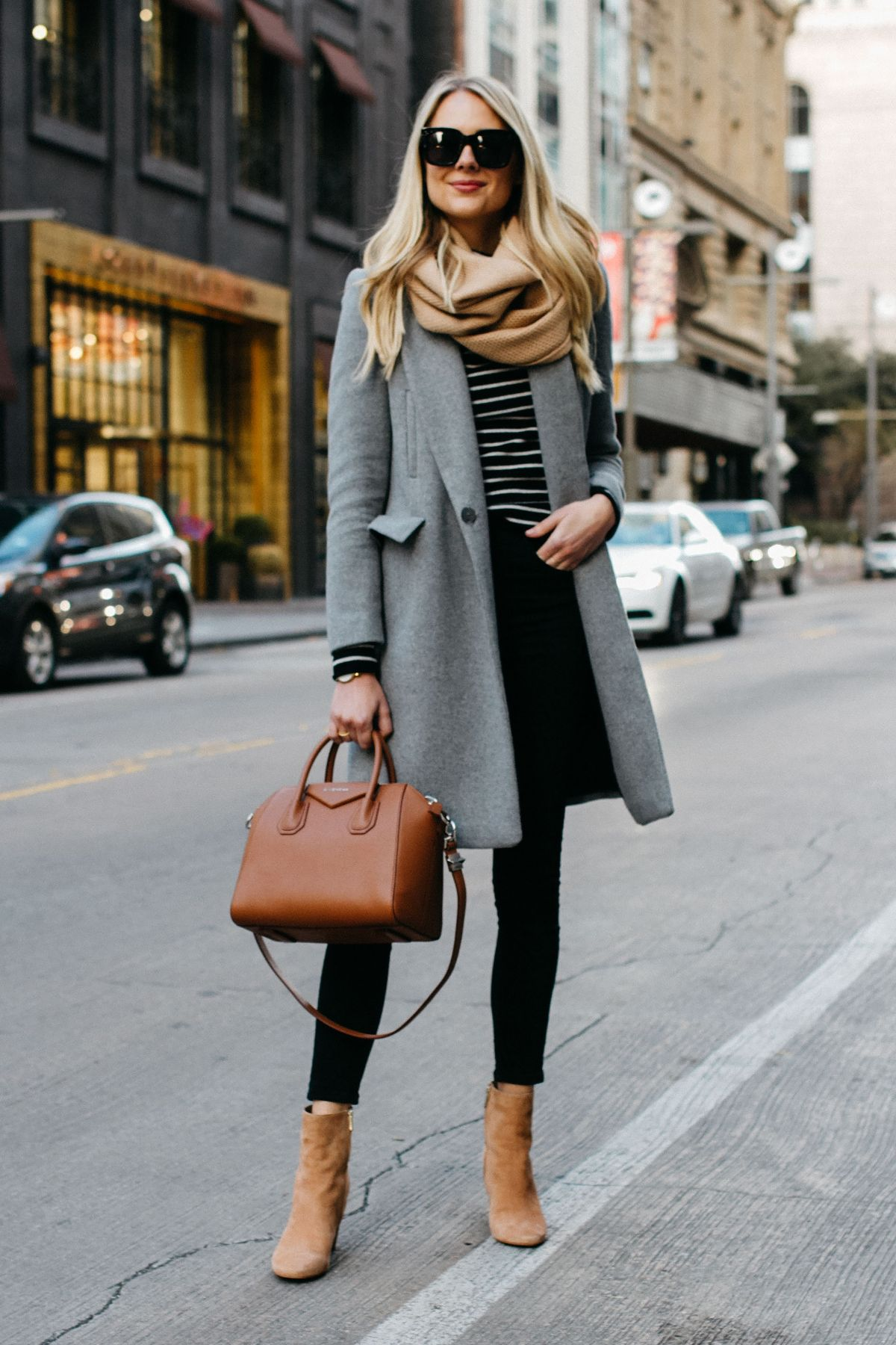 bffef0a9c0 blonde women wearing zara grey wool coat tan scarf black white striped sweater  black skinny jeans sam edelman cora tan booties givenchy cognac antigona ...