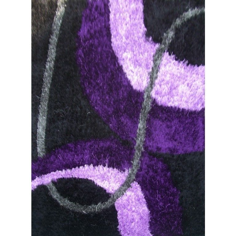 ABC Accents Silky Shag Purple Rug (Blue), Size 5' X 8