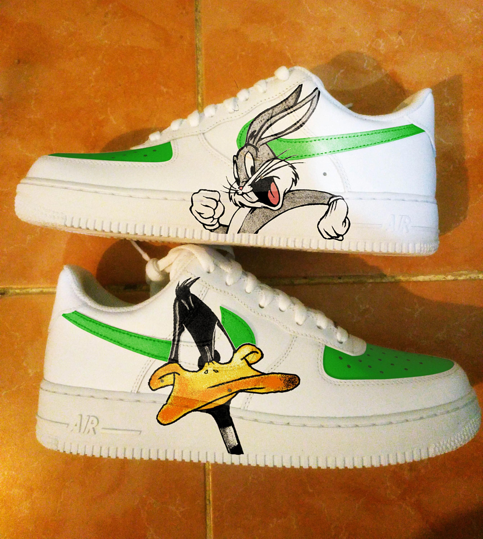 Custom Nike Air Force one,daffy duck,bugs bunny,custom