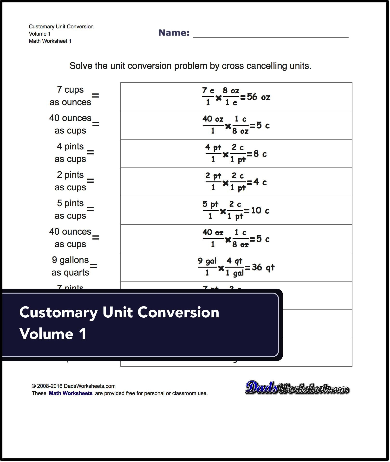 Unit conversion worksheets for converting customary volume ...