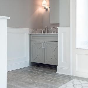 Cory Connor Design Bathrooms Benjamin Moore San Antonio Gray Color And White Paneling Wood Tile Bathroom Gray Wood Tile Flooring Grey Wood Tile