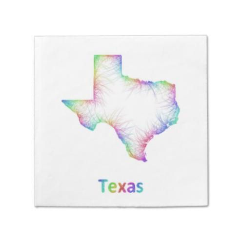 Rainbow Texas map Napkin 6955 Rainbow Texas state map from