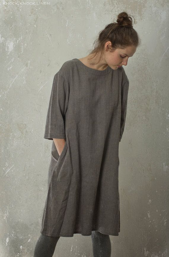 LINEN / WOOL tunic dress CREEK | with drooped shoulder