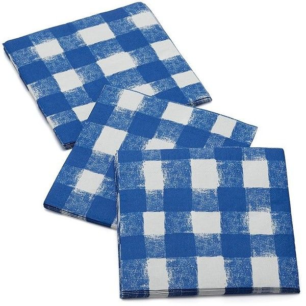 Blue Gingham Lunch Napkins Set of 20 ❤ liked on Polyvore featuring home, kitchen & dining, table linens and blue table linens