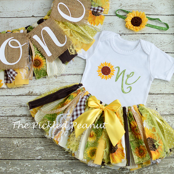 ce2869183bd Sunflower 1st Birthday Girl Outfit   Birthday Banner Birthday Outfit ...