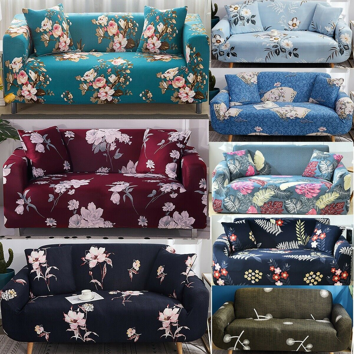 Easy Fit Stretch Floral Sofa Covers Armchair 1 2 3 4 Seater Chair Couch Cover Us Kitchen Sofa Ideas Of Kitchen Sofa K In 2020 Floral Sofa Sofa Covers Couch Covers