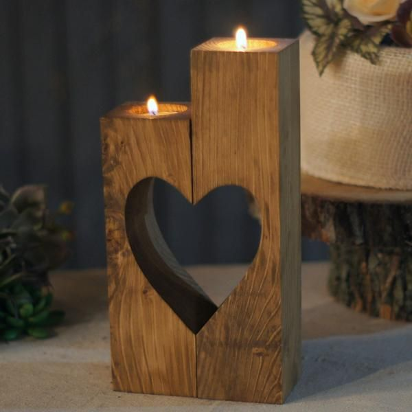 Reclaimed Wooden Cube Candle Holder Set of 2 Tealight Holders with heart cut-out. Stained a warm chestnut. Approx Measurements: 4-6 in Height May have knots, cracks or imperfections. Looking to add s #woodprojects