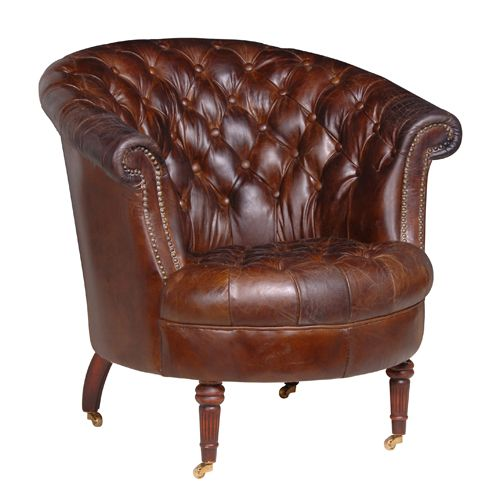 Perfect President Vintage Brown Leather Buttoned Armchair