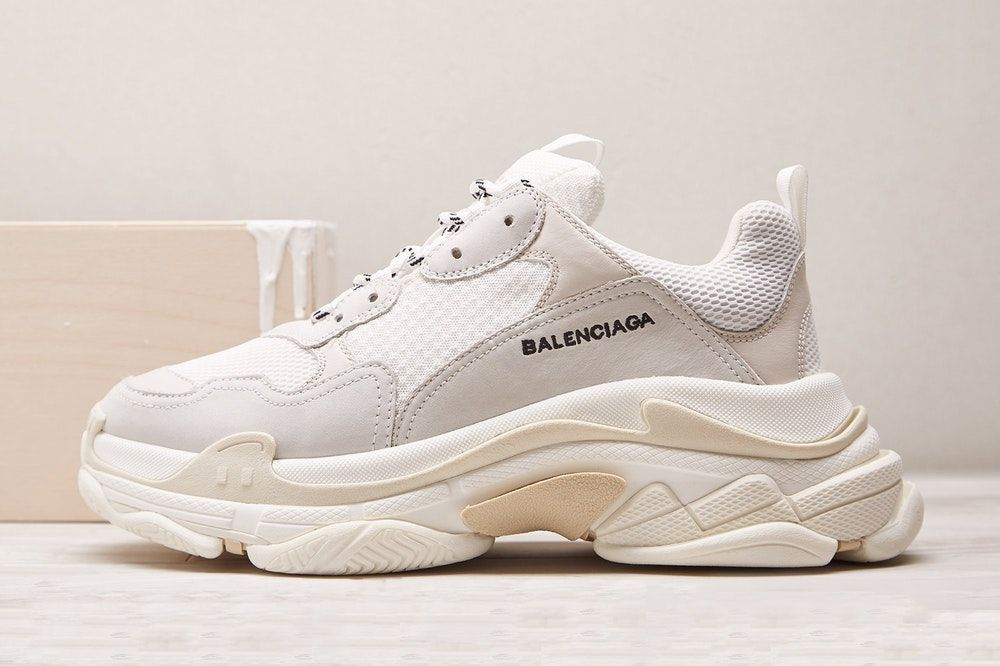 Balenciaga Triple S Nylon Suede and Leather Sneakers Light
