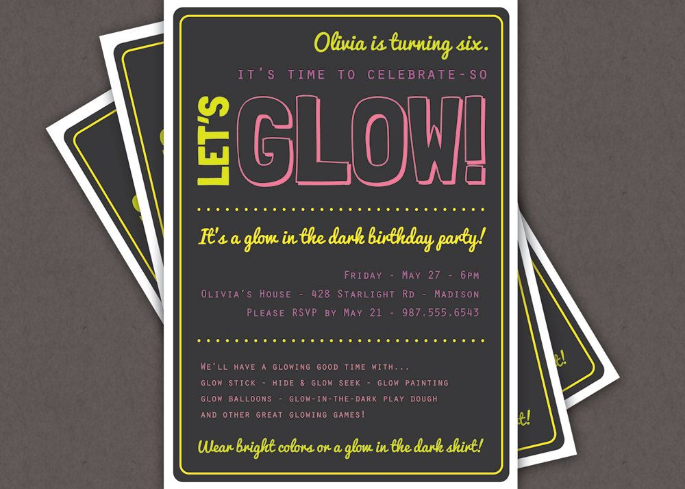 glow in the dark theme birthday party invitation custom printable glow party black light - Black Light Party Invitations