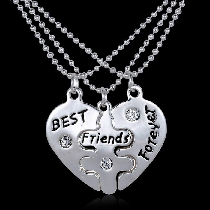 Puzzle best friends pendant necklace set or keychain set or both sets BFF