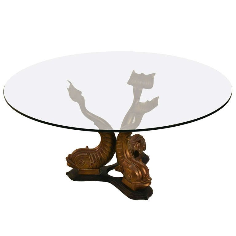 Brass Base Glass Top Dolphin Table Glass Table Brass