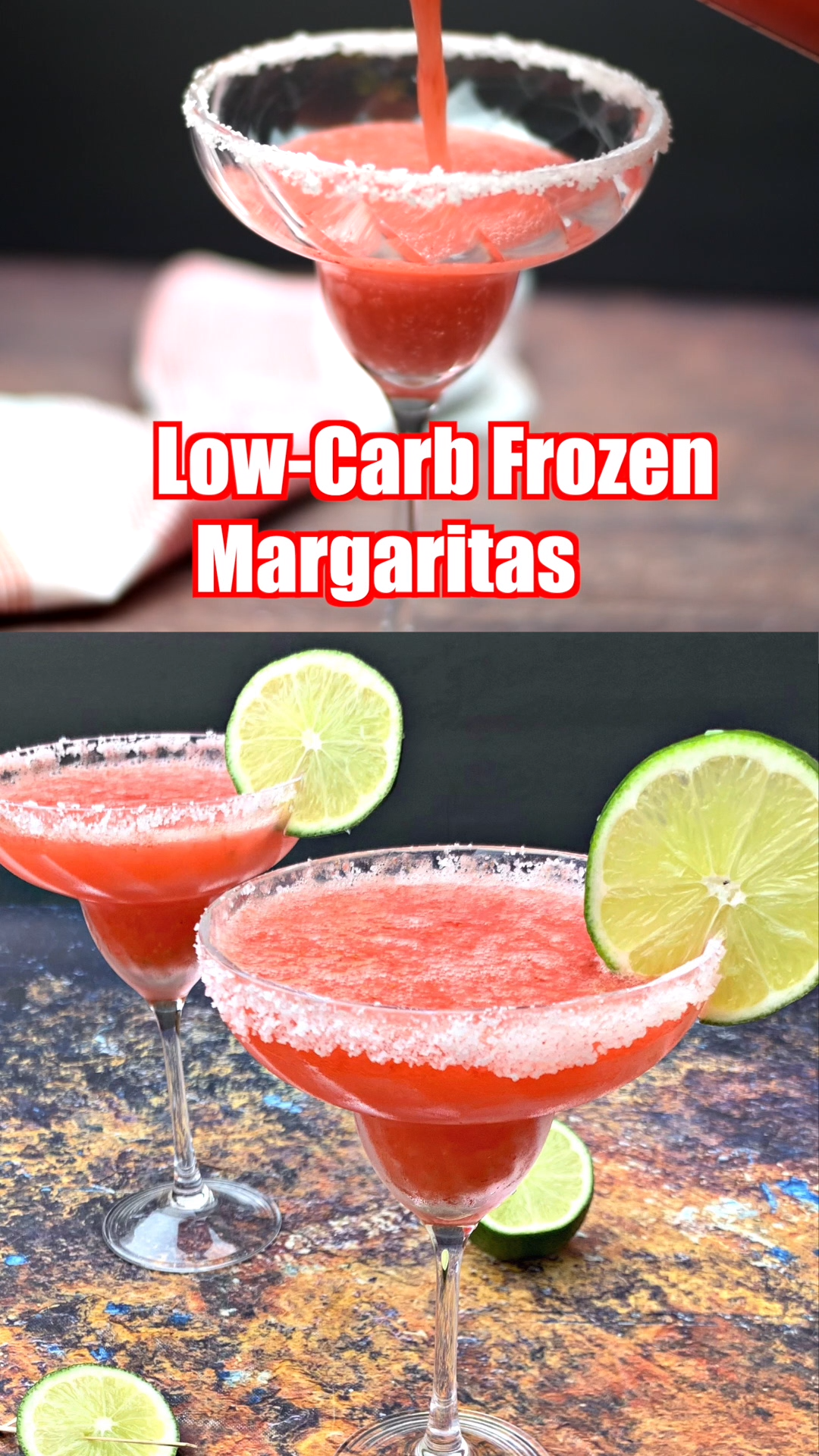 Keto Low-Carb Skinny Frozen Strawberry Margarita Cocktails  #frozenmargaritarecipes