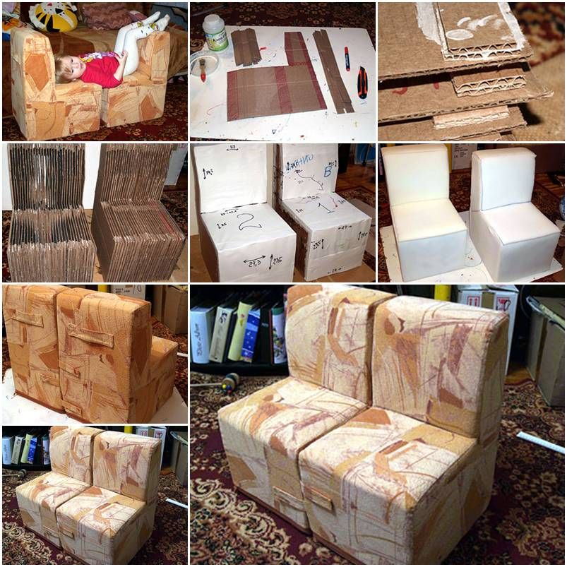 How To Make Cool Cardboard Children Sofa Chair Step By Step Diy