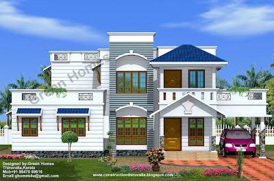 Green Homes Duplex House Elevation 2200 Sq Ft House Elevation Duplex House Roof Architecture
