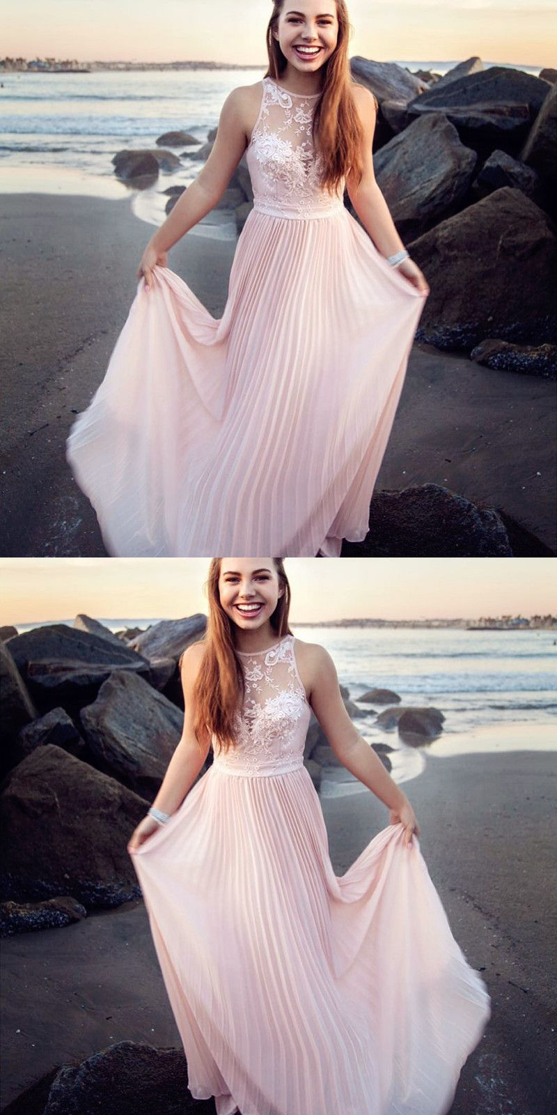 Aline round neck long pink prom dress with ruffles appliques in