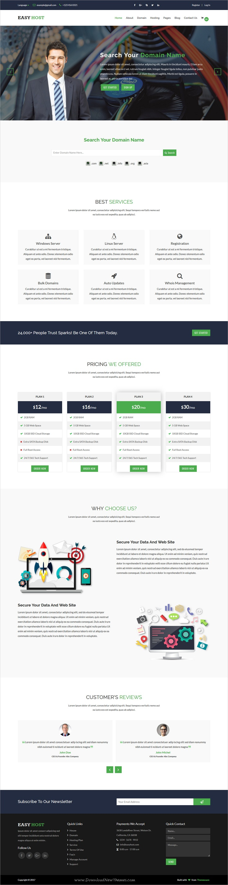 Easyhost - Domain & Hosting Template   Hosting company and Template